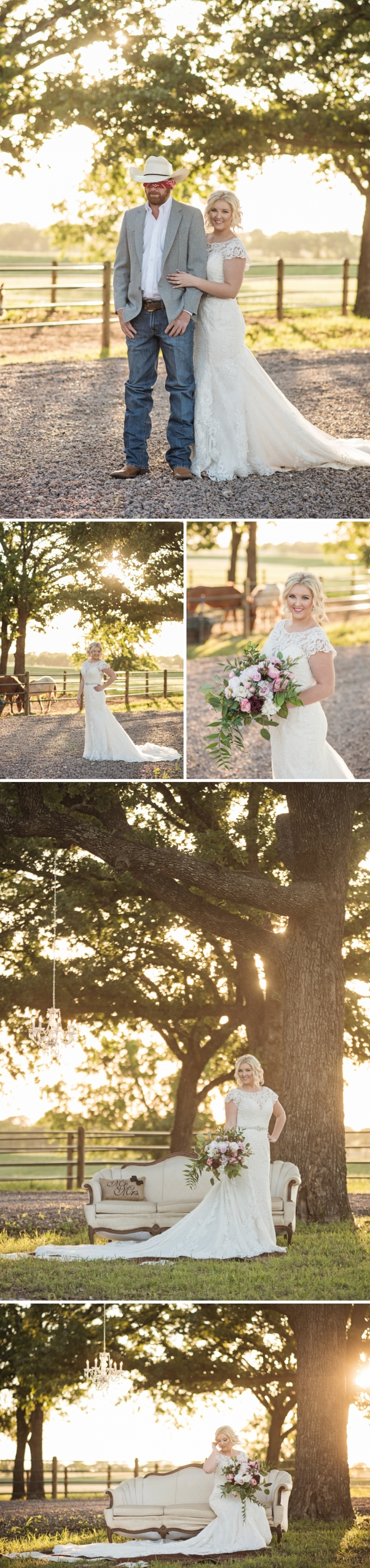 Texas Bridal Session with Tree Swing and Horse Barn