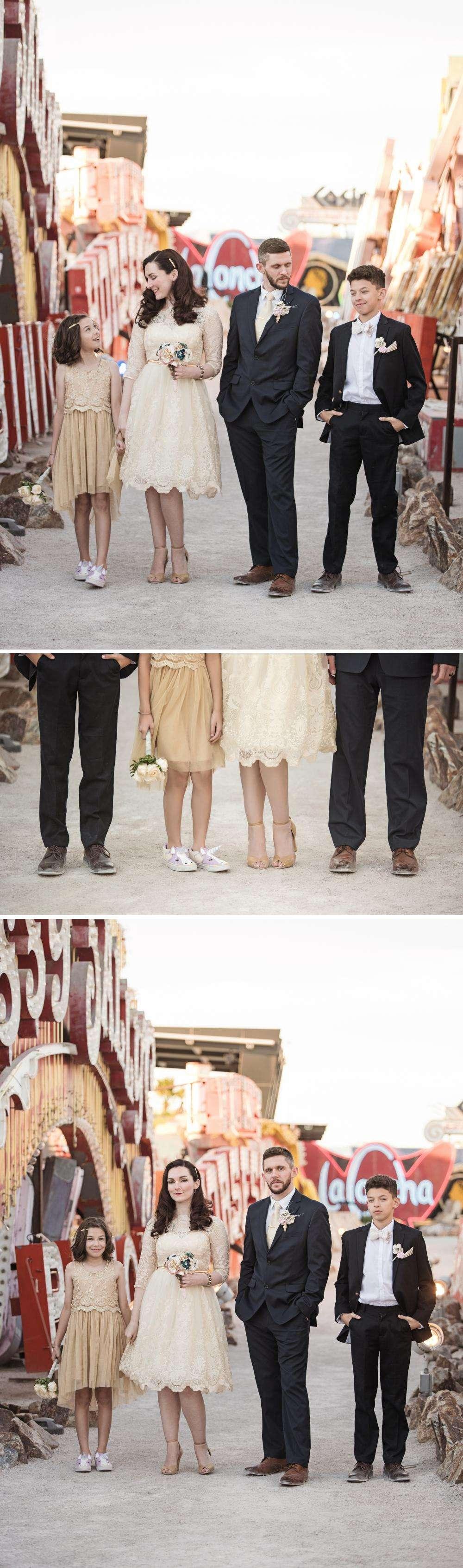 Las Vegas Chapel Wedding Photographer with Neon Boneyard Photoshoot