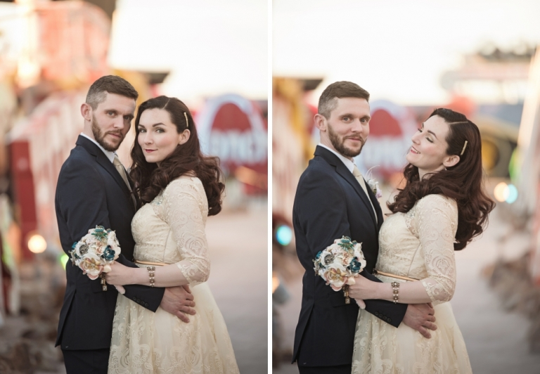 Las Vegas Chapel Wedding Photographer with Neon Boneyard Photoshoot