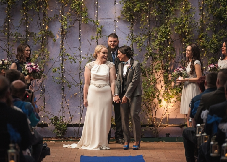 Wedding at Fort Worth Museum of Science and History with Same sex couple